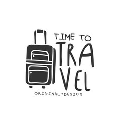Time to travel logo with traveler luggage vector