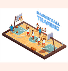 training basketball isometric composition vector image