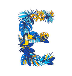tropical floral summer letter e hand drawn vector image