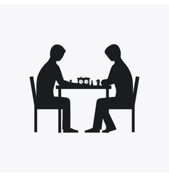Two people playing chess silhouette vector