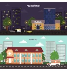 Urban landscape horizontal banners set vector image