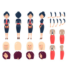Various templates of female suits and hairstyles vector
