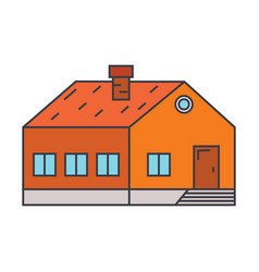 village building line icon concept village vector image