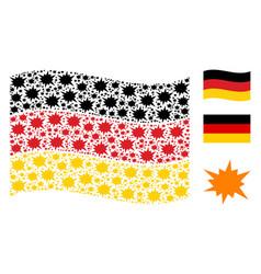 Waving german flag pattern of bang icons vector