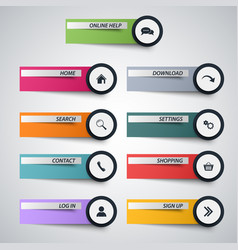 web design elements as stickers with circular vector image