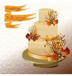 Wedding cake with autumn twigs golden orange vector