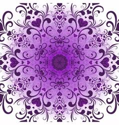 White-violet valentine round pattern vector image