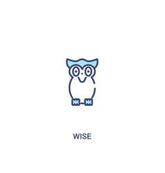Wise concept 2 colored icon simple line element vector