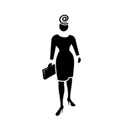 Busines woman icon Fashion lady with small bag vector image vector image