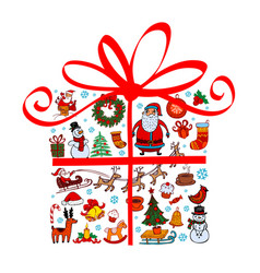 christmas gift with ornaments vector image vector image