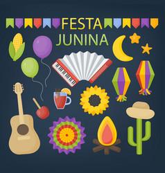 festa junina flat icon set vector image