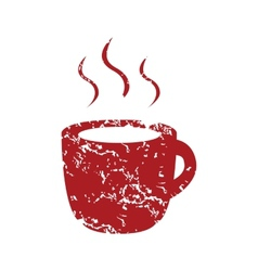 Red grunge cup of coffee logo vector image