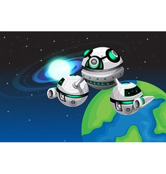 Spaceship floating in the space vector image vector image