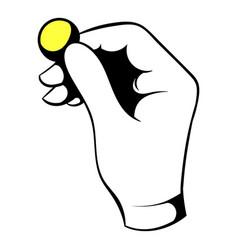 hand putting a golden coin icon icon cartoon vector image vector image