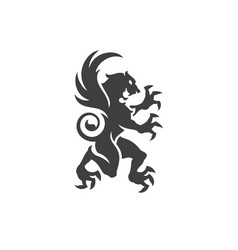 heraldic lion isolated on white background vector image vector image