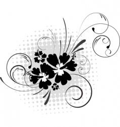 hibiscus with swirls vector image vector image