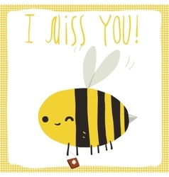 I miss you bee postcard vector image