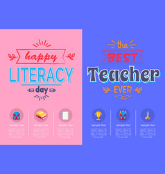 two posters school theme vector image vector image