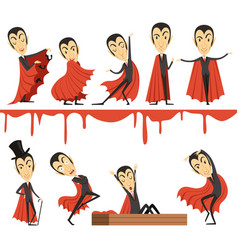 cartoon count dracula wearing red cape set vector image