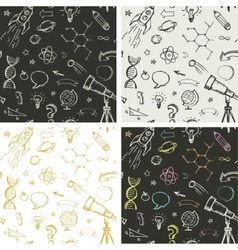 education science doodles - seamless patterns vector image