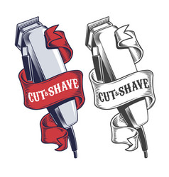 electric hair clippers engraved style vector image vector image