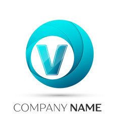 letter v logo symbol in the colorful circle on vector image