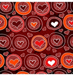Red pattern with hearts in the circles sketch vector image