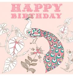Retro Birthday Floral Card vector image vector image