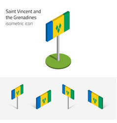 Saint vincent and the grenadines flag set of 3d vector