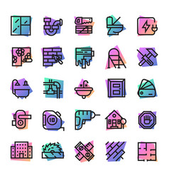 construction icons builder tools for vector image vector image