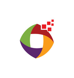 digital colored circle logo vector image vector image