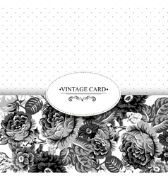 Monochrome Vintage Floral Card with Roses vector image vector image