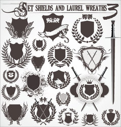 set - shields and laurel wreaths 3 vector image vector image