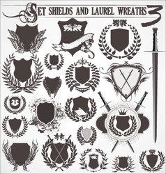 set - shields and laurel wreaths 3 vector image