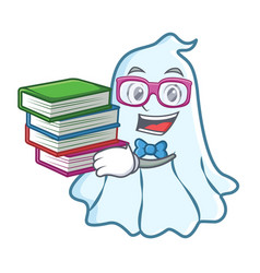 student with book cute ghost character cartoon vector image