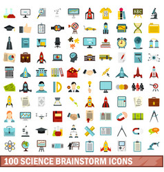 100 science brainstorm icons set flat style vector