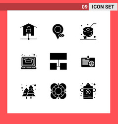 9 universal solid glyphs set for web and mobile vector
