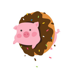 a cartoon pig in a donut flat style cute pig the vector image