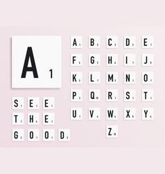 Alphabet letters on white scrabble pieces vector