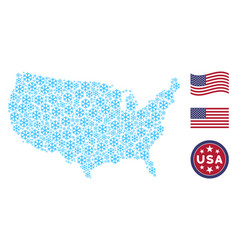 American map stylization of snowflake vector