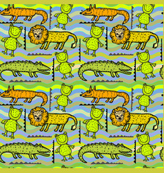 animal decorative seamless pattern vector image