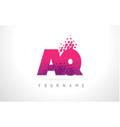 Aq a q letter logo with pink purple color vector