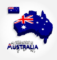 australia 3d flag and map vector image