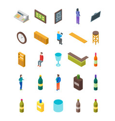 bar drinking icon set isometric view vector image