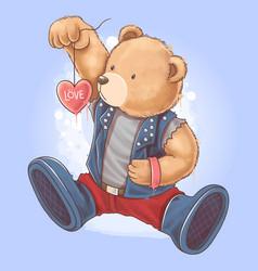 bear tedy wears a rocker jacket holding a love vector image