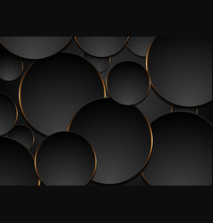 black and orange circles abstract tech background vector image