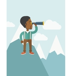 Black man on top of blue mountain vector