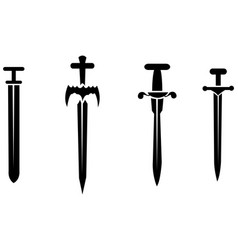 black silhouettes swords vector image