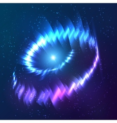 Blue shining cosmic neon light twirl vector