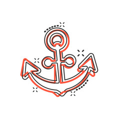 Boat anchor sign icon in comic style maritime vector